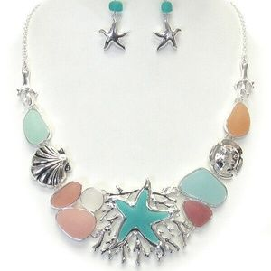 Jewelry - Sealife Starfish Shell Seaweed Sea Glass  Necklace